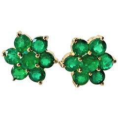Emerald Daisy Cluster Stud Earrings 18 Karat Gold
