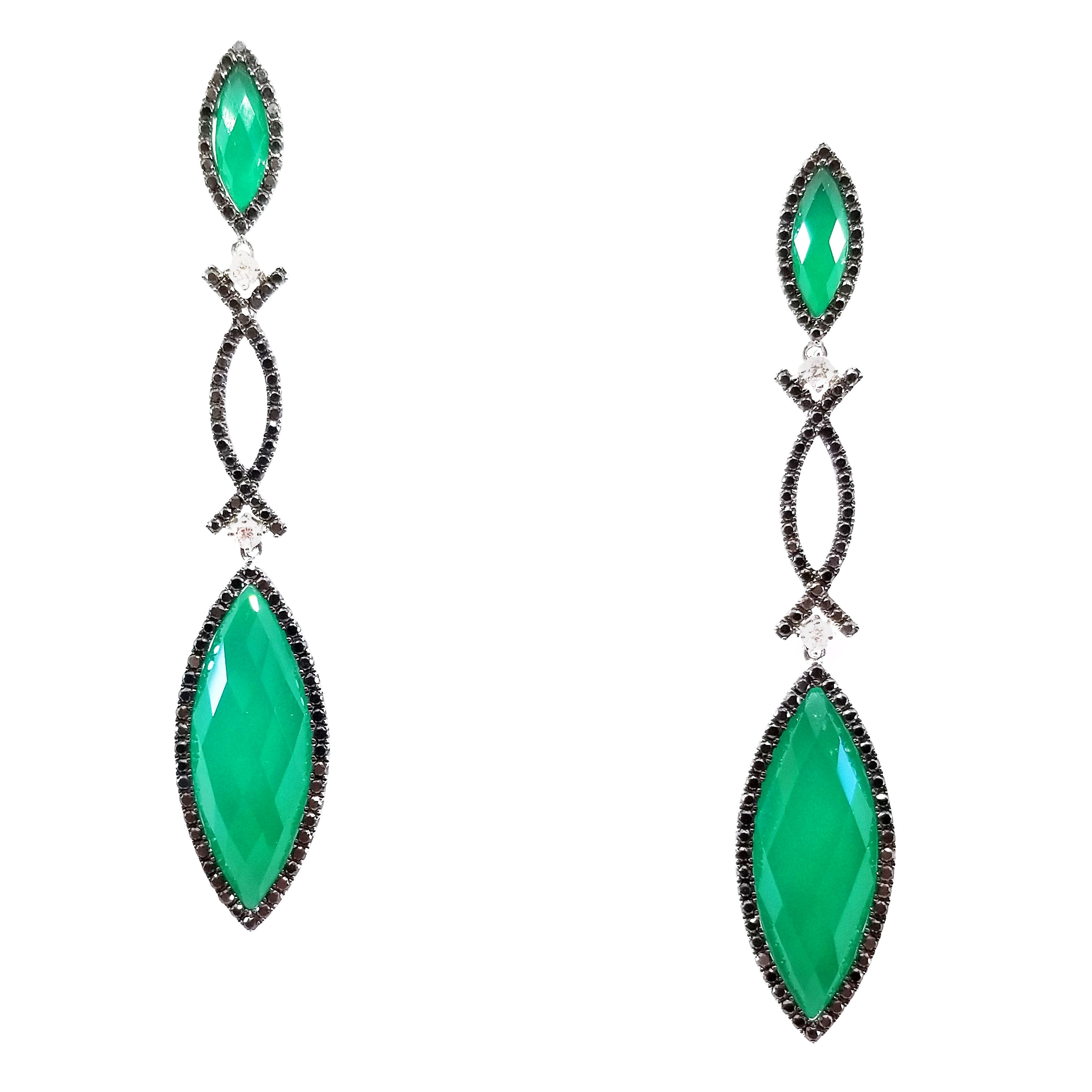 Green Agate White Topaz White and Black Diamond Drop Earrings 18 Karat White