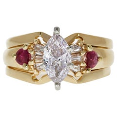 GIA Certified 1.09 Carat Fancy Faint Pink Diamond and Ruby Ring in 14 Karat Gold