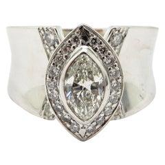 Estate 14 Karat Gold Round and Marquise Halo Diamond Bezel Set Engagement Ring