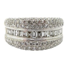 Estate 14 Karat White Gold Pavé Diamond and Baguette Band Ring
