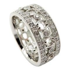 Designer Jude Frances Diamond 18 Karat White Gold Eternity Band Ring
