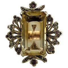Yellow Topaz, Diamonds, Rubies, 9 Karat Rose Gold and Silver Retro Ring
