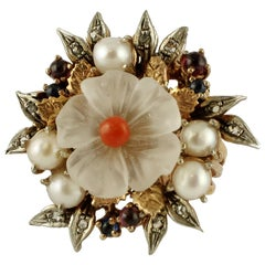 Rock Crystal Flower, Coral, Rubies, Sapphires, Pearls Rose Gold and Silver Ring