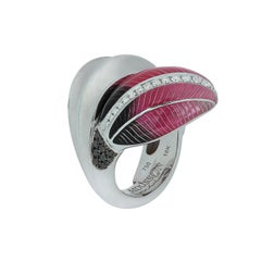Black and White Diamonds Colored Enamel 18 Karat White Gold Tulip Ring