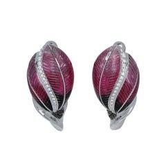Black and White Diamonds Colored Enamel 18 Karat White Gold Tulip Earrings