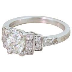 Art Deco 1.23 Carat Old Cut Diamond Engagement Ring