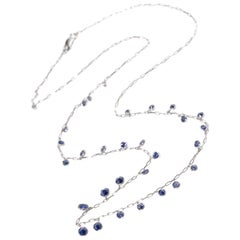 NECKLACE 18 Karat White Gold Necklace with 3.81 Carat Blue Sapphires