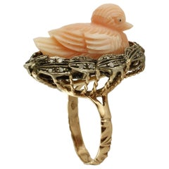 Carved Coral Duck, Diamonds, 9 Karat Rose Gold and Silver Ring