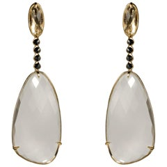 Yellow Gold Crystal and Black Diamond Earrings