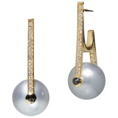 Yellow Gold White Pearl Earrings with White and Black Diamonds
