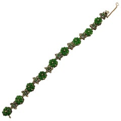 Green Agate Flowers, Emeralds, Diamonds, 9 Karat Rose Gold and Silver Bracelet