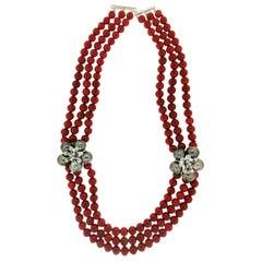 Tahiti Pearls 18 Karat White Gold Diamonds Coral Choker Necklace