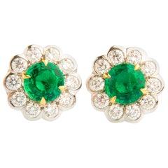 Emerald and Diamond Flower Shaped 18 Karat White Gold Earrings