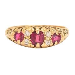 Antique Edwardian Ruby Diamond Scrolled Gypsy Ring