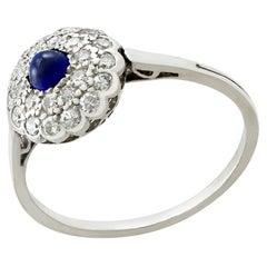 Antique Sapphire and Diamond Platinum Cluster Ring Circa 1925