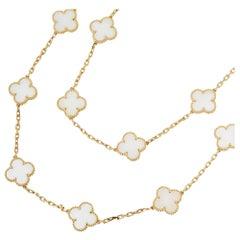 Van Cleef & Arpels 18 Karat Yellow Gold White Coral Vintage Alhambra Necklace