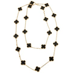 Van Cleef & Arpels 18 Karat Yellow Gold Onyx 20 Motif Vintage Alhambra Necklace