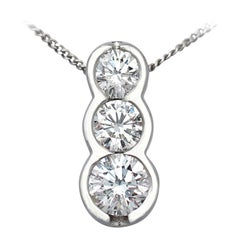 Contemporary Diamond Trilogy Platinum Pendant