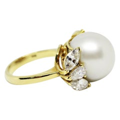 Pearl and Diamond 18 Carat Gold Dress Ring