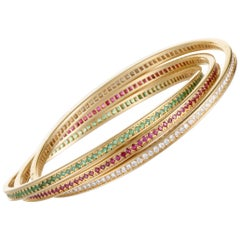 Cartier Trinity Diamond Ruby and Emerald Yellow Gold Bangle Bracelet