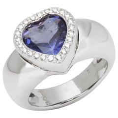 Piaget 18 Karat White Gold Iolite & Diamond Heart Cocktail Ring