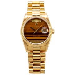 Rolex Yellow Gold Day-Date Tiger's Eye Dial President Wristwatch, 1980s
