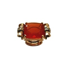 22.00 Carat Fire Opal with 0.35 Carat Diamonds 18 Karat Gold Cocktail Ring