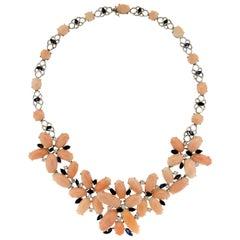 Pink Coral 18 Karat White Gold Diamonds Choker Necklace