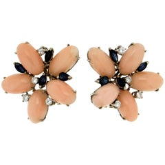 Pink Coral 18 Karat White Gold Diamonds Sapphires Clip-On Earrings