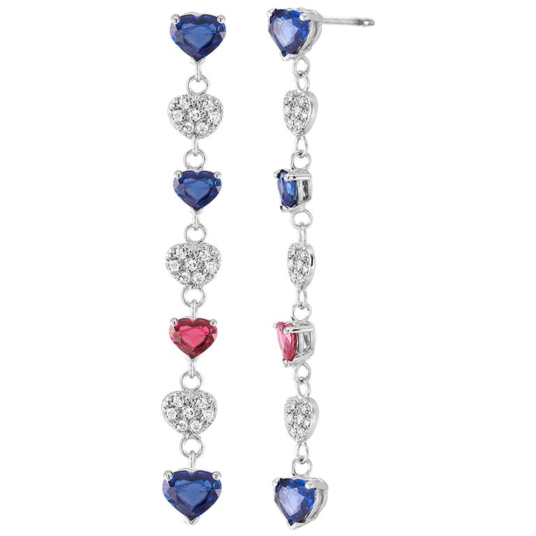 Diamond Hoop Earrings with Heart Shape Ruby and Sapphire Drops Weighing 5 Carat For Sale