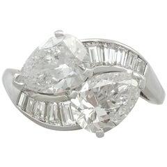 Vintage 3.80 Carat Diamond and Platinum Twist Ring, Circa 1990