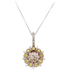0.15 Carat Yellow Sapphire and Diamond Pendant