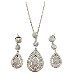 White Round Brilliant Diamond Dangle Earrings With Matching Necklace In 18K Gold