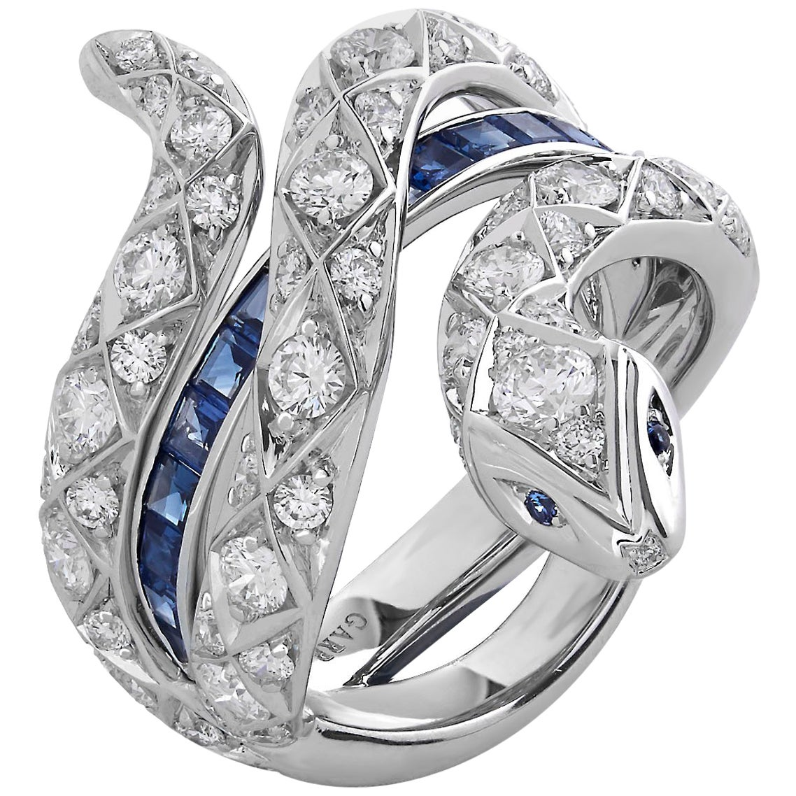 Garrard 'Muse' Signature Serpent 18 Karat White Gold Sapphire and Diamond Ring