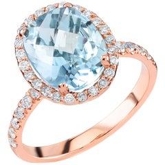 18 Karat Rose Gold Aquamarine Diamond Cocktail Cluster Ring