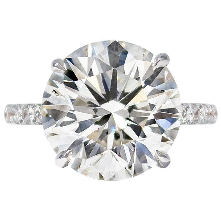 J. Birnbach GIA Certified 7.02 Carat Brilliant Round Diamond Ring For Sale