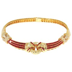 Show Stopping Magnificent Neck-Piece 18 Karat Gold with Rubies and Diamonds