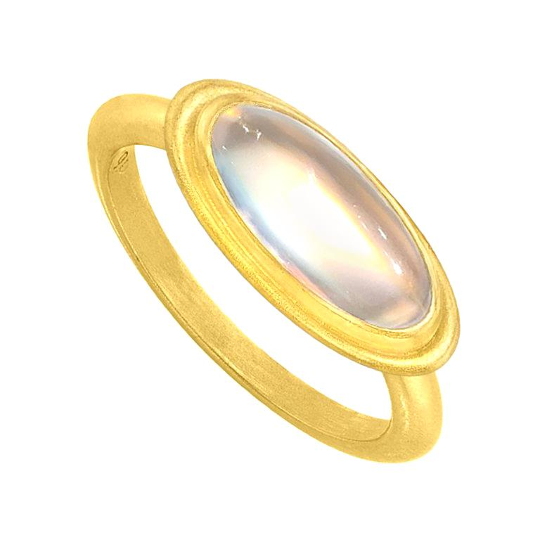 Denise Betesh Entrancing Oval Rainbow Moonstone One of a Kind Ring For Sale