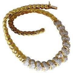 7.00ct Natural Round Diamonds Hinged Scaling Pattern Necklace Statement 18 Karat