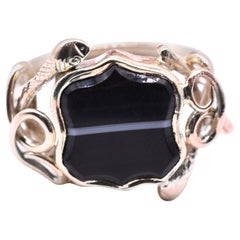 15 Karat Agate Signet Ring with Snake Surround