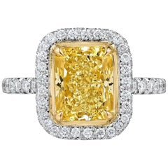 Fancy Yellow Radiant Cut Diamond Engagement Platinum 3.57 Carat Ring