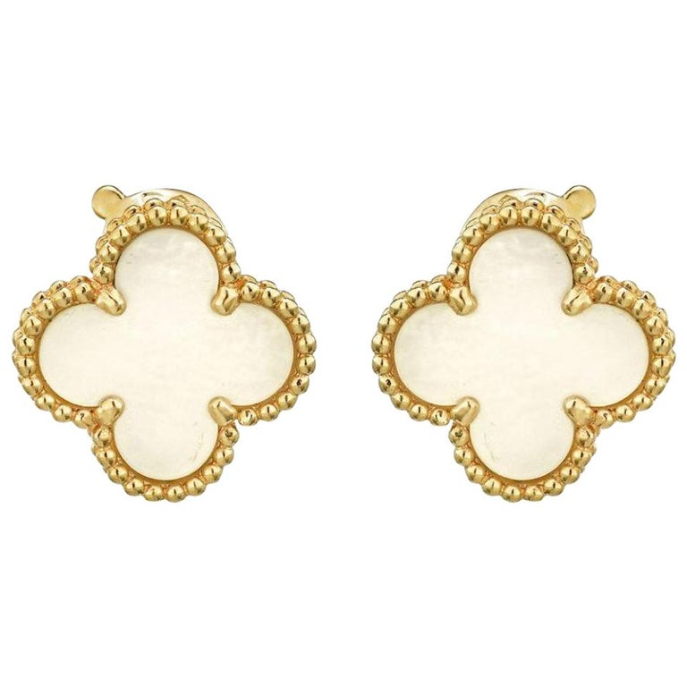 gold CZ stud 18k gold plated luxury earring 30th lucky clover earring gold Alhambra style clover leaf stud 40th birthday gift for her