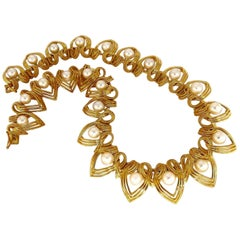 Natural Japanese Akoya Pearls Necklace 18 Karat Two-Tier Intertwined Twist