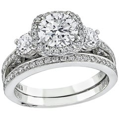 Tacori GIA 1.10 Carat Diamond Engagement Ring and Eternity Band Set