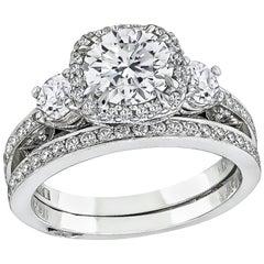 Tacori GIA 1.10 Carat Diamond Engagement Ring and Eternity Band Set