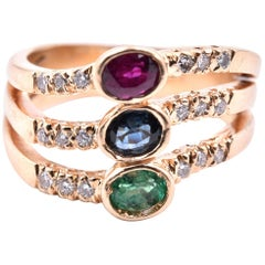 14 Karat Yellow Gold Emerald, Sapphire, Ruby and Diamond Ring