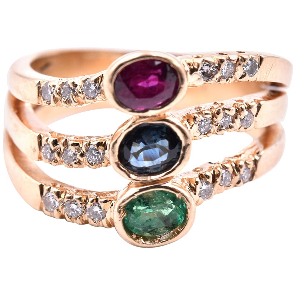 14 Karat Yellow Gold Emerald, Sapphire, Ruby and Diamond Ring