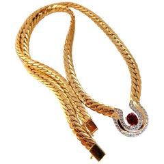 1.10 Carat Natural Ruby Diamonds Horse Shoe Herringbone Necklace 14 Karat