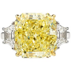 7 Carat Fancy Yellow Radiant Cut Diamond Engagement Ring GIA